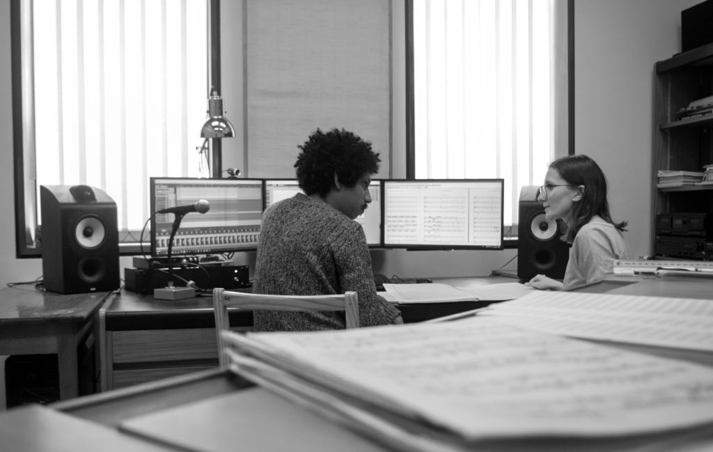 SEIN composers Arthur and Jesse working on a new orchestral piece in our dedicated composers' studio.