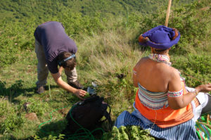Recording Madosini on location in Libode, Eastern Cape, South Africa. Photo by Hans Huyssen